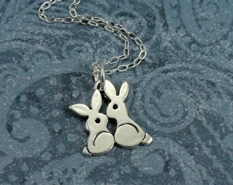 Love Bunnies Necklace, Sterling Silver Kissing Bunny Rabbits Charm on a Silver Cable Chain