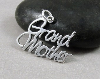 Sterling Silver Grandmother Charm, Grandmother Pendant, Grandma Charm, Grandma Jewelry, Bracelet Charm, Grandma Gift, Mother's Day Gift