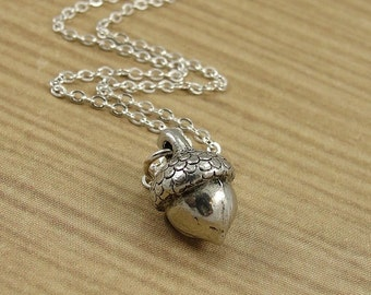 Acorn Necklace, Silver Plated Acorn Charm on a Silver Cable Chain