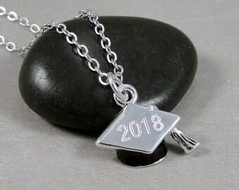 Silver 2018 Graduation Cap Necklace, Graduation Cap Charm, Graduation Hat Charm, 2018 Graduation Charm, Graduation Gift Jewelry