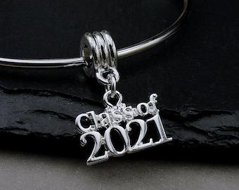 Silver Class of 2021 European Charm, 2021 Graduation Dangle Charm, Class of 2021 Charm, 2021 Bracelet Charm, Graduation Gift Jewelry