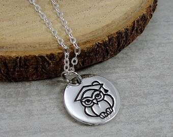 Sterling Silver Graduation Owl Necklace, Graduation Owl Charm, Class of 2018 Graduation Charm Necklace, Graduation Gift Jewelry