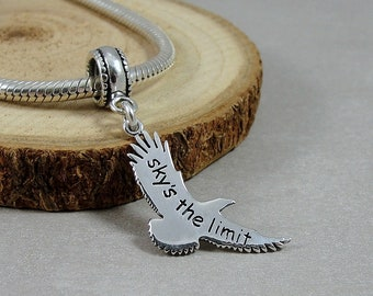 Sterling Silver Eagle Sky's the Limit European Charm, Large Hole Bead Charm, Graduation Gift, Inspirational Message European Charm Jewelry