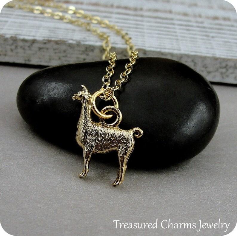 Llama Necklace Farm Animal Jewelry Gold Llama Charm Necklace Llama Themed Jewelry Alpaca Necklace Llama Gift Pet Llama Charm