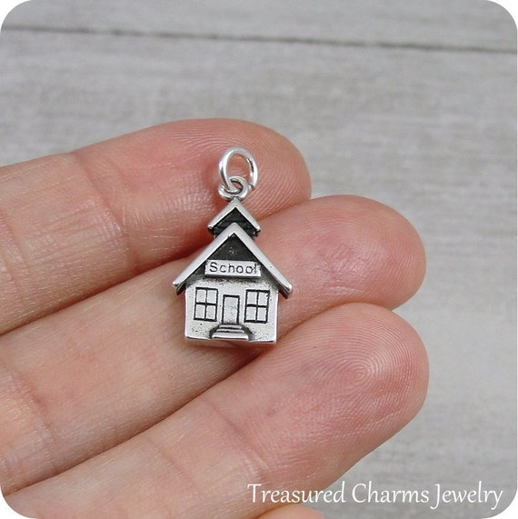 sterling silver SCHOOLHOUSE charm
