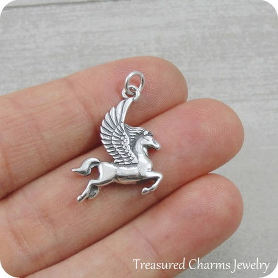 925 Sterling Silver Pegasus Charm Necklace Unicorn Magical Horse Jewelry NEW