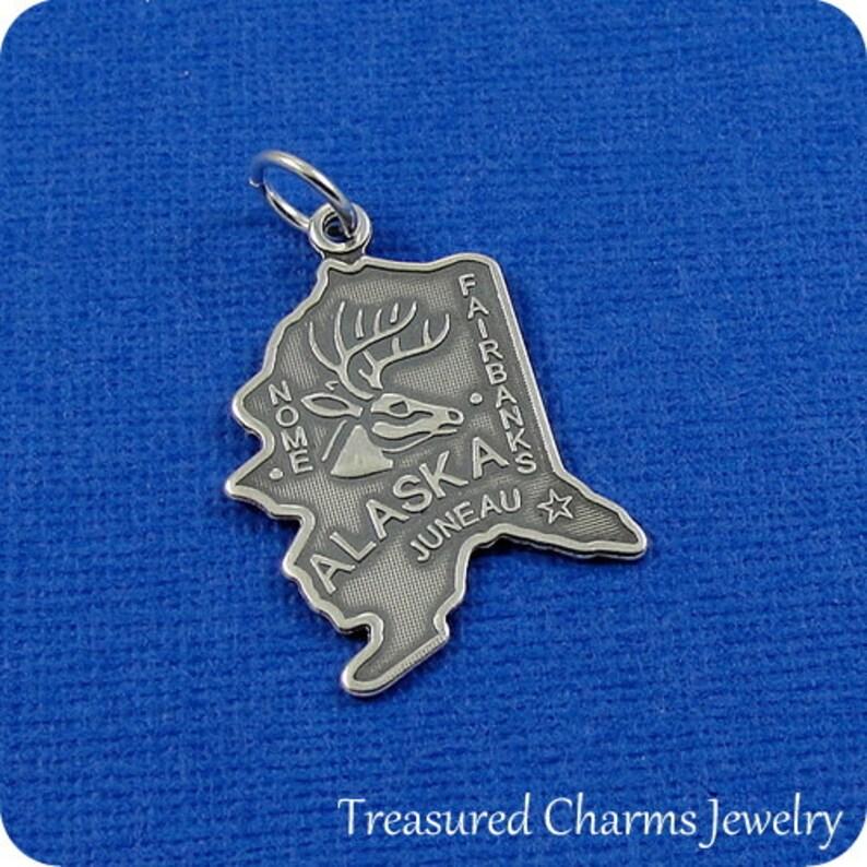 Sterling Silver State of Alaska Charm for Necklace or Bracelet Alaska Charm