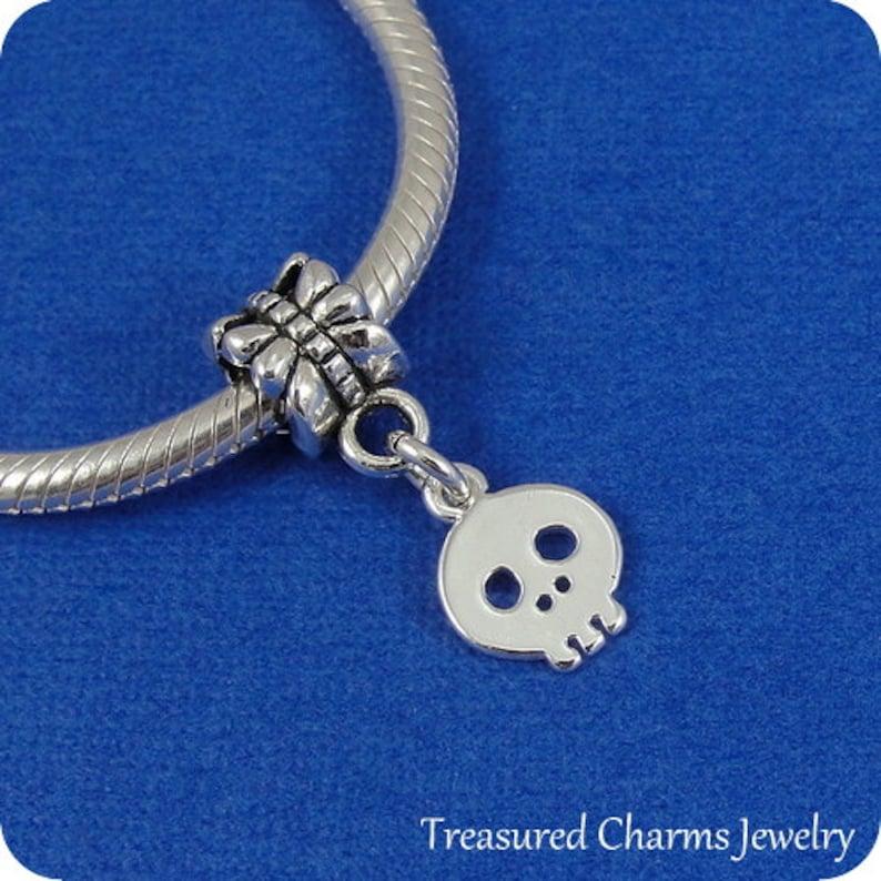Skull European Dangle Bead Charm Silver Skull Charm for European Bracelet
