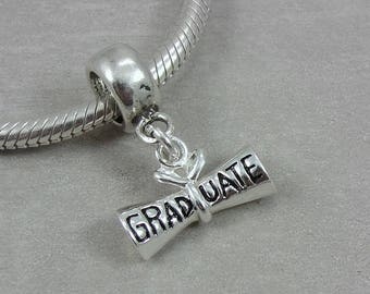 Sterling Silver Graduation Diploma European Charm, Graduation Bracelet Charm, Graduation Gift, Charm with Bail fits European Bracelets