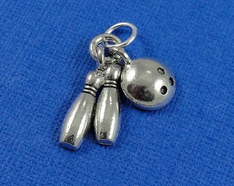 Bowling Pins and Ball Charm - Silver Plated Bowling Charm for Necklace or Bracelet