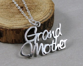 Sterling Silver Grandmother Necklace, Grandmother Charm, Grandma Necklace, Grandma Jewelry, Mother's Day Gift for Grandma