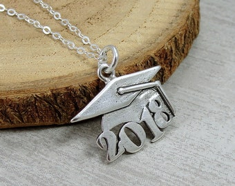 Sterling Silver 2018 Graduation Cap Necklace, 2018 Graduation Charm, Class of 2018 Graduation Charm Necklace, Graduation Gift Jewelry