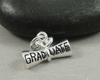 Sterling Silver Graduation Diploma Charm, Diploma Pendant, Graduation Charm, Graduation Pendant, Bracelet Charm, Graduation Gift Jewelry