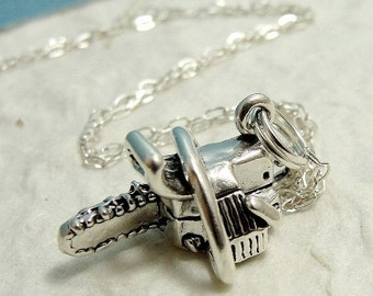 Chainsaw Necklace, Sterling Silver Chain Saw Charm on a Silver Cable Chain