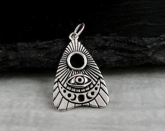 925 Sterling Silver Ouija Planchette Charm, Spirit Board Pendant, Silver All Seeing Eye Talisman Charm, Ouija Board Planchette Charm Jewelry
