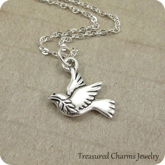 Silver PEACE DOVE with OLIVE BRANCH Dangle Bead CHARM fits EUROPEAN Bracelet