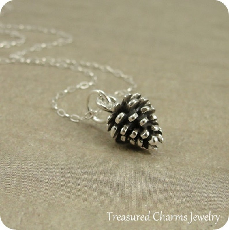 Pine Cone Necklace Sterling Silver Pine Cone Charm on a image 0