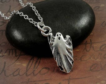 Ghost Necklace, Silver Spooky Ghost Charm on a Silver Cable Chain