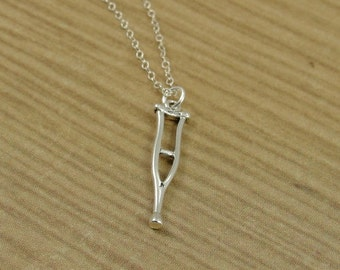 Crutch Necklace, Sterling Silver Crutches Charm on a Silver Cable Chain