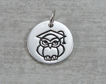 Sterling Silver Graduation Owl Charm, 2018 Graduation Pendant, Graduation Charm, Necklace Charm, Bracelet Charm, Graduation Gift Jewelry