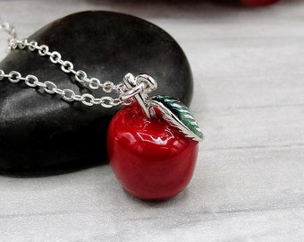 Red Apple Charm Necklace, School Teacher Necklace, Silver and Red 3D Apple Charm, Teacher Jewelry, Gift for Teacher, Teacher Gift Present