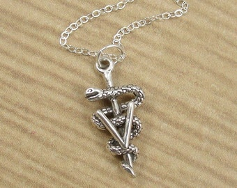 Vet Symbol Necklace, Sterling Silver Veterinarian Charm on a Silver Cable Chain