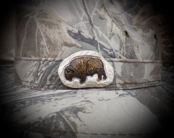 Buffalo Bison  hand carved from deer antler carving   . FREE SHIPPING