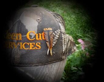 Turkey Feather Deer antler carving Turkey Hat Pin