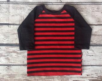 Organic Toddler Baseball Tee Red Black Stripe