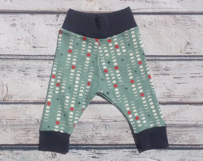 Organic Teal Moon Phase Baby Harem Pants