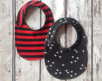 Black Red stripe bib set of 2