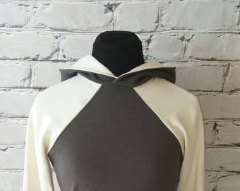 Hooded Gray and Ivory Organic Baseball Sleeve Sweatshirt