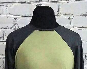 Green and Gray Baseball Sleeve Tunic