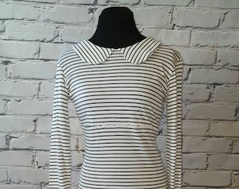 Ivory and Gray Striped Organic Dress