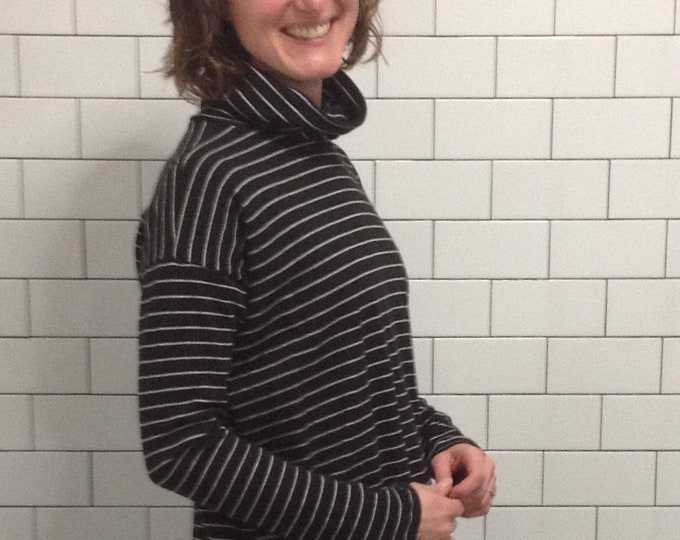 Organic Cotton Striped Turtleneck Tunic - Black and Gray