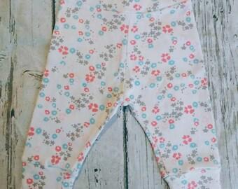 White Floral Organic Baby Harem Pants
