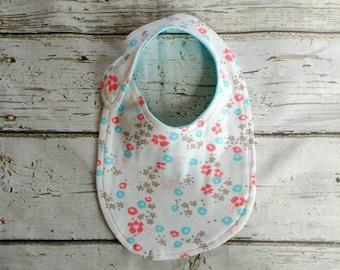 White Floral Organic Cotton Baby Bib