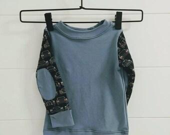 Elbow Patch Toddler Car Shirt - Organic Cotton