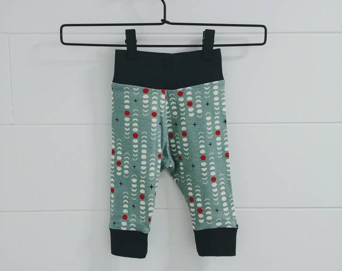 Organic Teal Moon Phase Baby Harem Pants