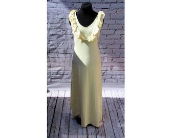 Ivory Ruffle Front Organic Cotton Maxi Dress
