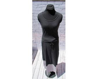 Black and Gray Organic Cotton Maxi Dress