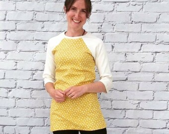 Yellow Baseball Sleeve Organic Cotton Tunic