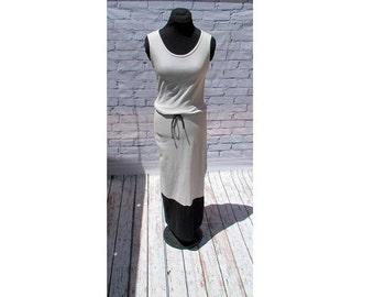 Gray and Black Organic Cotton Maxi Dress