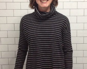 Striped Black Turtleneck Shirt - Organic Cotton