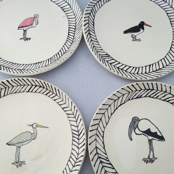 Coastal Bird Plates Set of Four
