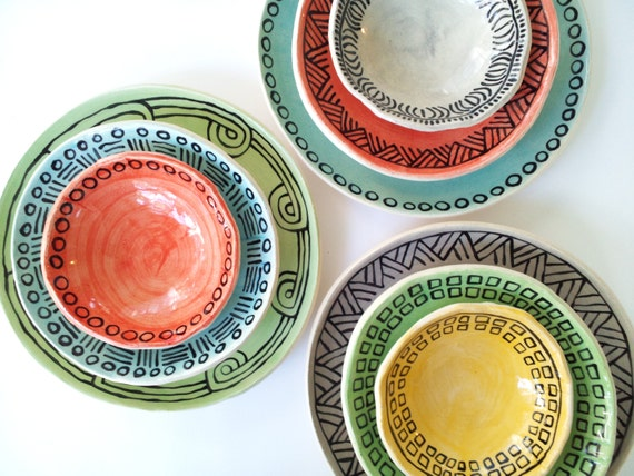 Guale Inspired Place Settings. Service for Four. 12 Pieces