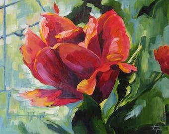 Original small impressionist painting, pink flower, sunlit rose