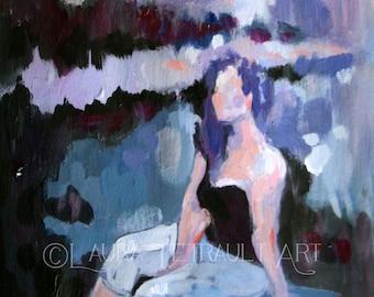 "Painterly - Original Acrylic Figure Painting - Woman in a Field-Marsh-Landscape- 7x5"""
