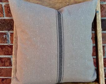 Grain Sack Pillow Cover Black Stripe