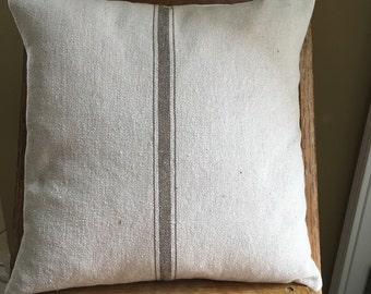 Grain Sack / Ticking Pillow Cover Tan Stripe Grain Sack Pillow Grain Sack Ticking Pillow Stripe Grain Sack Pillows